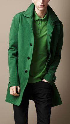 d0a478126150 Burberry Brit - Green Midlength Single Breasted Trench Coat for Men - Lyst