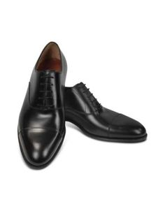 Acquista Fratelli Rossetti Black Calf Leather Cap Toe Oxford Shoes Uomo -