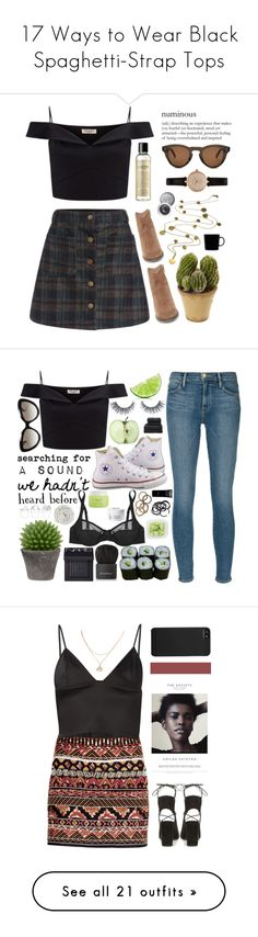 """""""17 Ways to Wear Black Spaghetti-Strap Tops"""" by polyvore-editorial ❤ liked on Polyvore featuring waystowear, blackspaghettistraptop, Lipsy, Steve Madden, Barbour, Nearly Natural, CÉLINE, Boutique by Jamie, philosophy and iittala"""