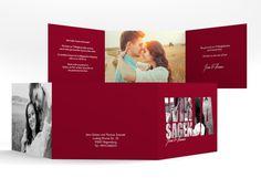 """Hochzeitseinladung """"Letters"""" A6 doppelt geklappt rot"""