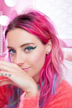Want bright colour hair inspiration? Then check out Chloe Norgaard's hair