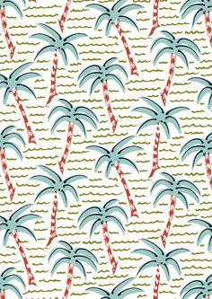#minakani #palmtree #waves #beach #tiki #sunny #pattern Mouse Illustration, Beach Illustration, Pattern Illustration, Textile Patterns, Textile Prints, Print Patterns, Pattern Art, Pop Art Wallpaper, Pattern Wallpaper