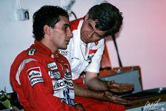 Ayrton Senna talking to Steve Nichols in 1988, the year McLaren Honda won 15 of 16 races, and Senna the drivers championship.