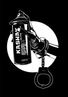 - Spray Paint and Handcuffs - #artwork #blackandwhite #art http://www.pinterest.com/TheHitman14/black-and-white/