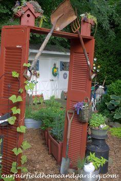 Arbor made from old shutters ~ Our Fairfield Home and Garden Tour ourfairfieldh. Laube aus alten F May Garden, Dream Garden, Garden Art, Home And Garden, Diy Garden Projects, Garden Crafts, Backyard Sheds, Backyard Landscaping, Old Shutters
