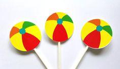 Beach Ball Cupcake Toppers - Beach Cupcake Toppers - Beach Party Cupcake Toppers by CraftyCue on Etsy