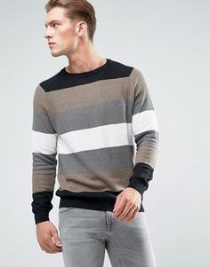 Pull&Bear Striped Sweater In Camel And Gray - Black