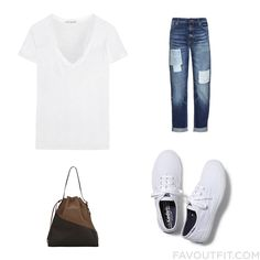 Clothing Ensemble Including James Perse T-Shirt Distressed Jeans Keds Sneakers And Brown Leather Purse From August 2015 #outfit #look