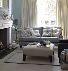 Sofas Ideas Living Room Color Schemes GreySo for some great Sofas Ideas Living Room Color Schemes Grey, check out our galle Cream Living Rooms, Blue Living Room, Blue Grey Living Room, Home And Living, Living Room Designs, Living Room Color, Living Room Grey, Interior Design, House Interior