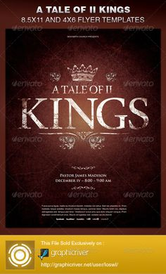 A Tale of Two Kings Church Flyer Template is sold exclusively on graphicriver, it can be used for your Church Events, Sermons, Gospel Concert etc, or for any other marketing projects.