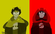 "Troll Gods - Sollux and Karkat    ""The Mage: prayed to for insight of the future    The Knight: prayed to for protection""  by nequius"