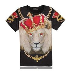 Lions Head with Crown 3D T Shirt