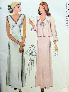 McCALL 6710 BIAS CUT 1940s GLAM NIGHTGOWN, BEDJACKET PATTERN FIGURE FLATTERING OLD HOLLYWOOD STYLE