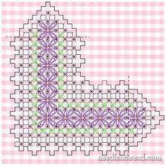 Chicken Scratch Embroidery - Gingham Lace from Mary Corbet § broderie suisse§ Types Of Embroidery, Embroidery Patterns Free, Hand Embroidery Stitches, Diy Embroidery, Cross Stitch Embroidery, Cross Stitch Patterns, Embroidery Designs, Chicken Scratch Patterns, Chicken Scratch Embroidery