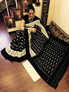 Ikkat merceraized cotton sarees with blouse.