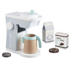Kinderspielzeug Kaffeemaschine Set weiß/grau/mint 6-teilig 18cm