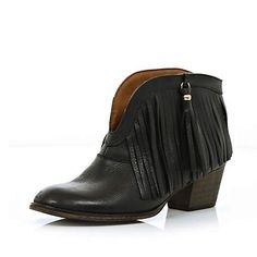 Perfect bootie! Black fringed ankle boots $110.00