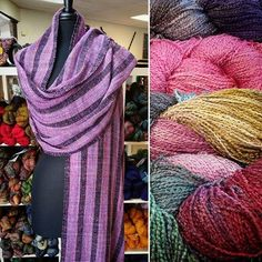 "We have received a new shipment of Interlacements ""Zig Zag"" in many beautiful colors!  Zig Zag is 100% rayon and each hank contains approximately 500 yards of sport weight yarn.  Margaret wove this stunning wrap using the fingering weight version and Cascade Heritage."