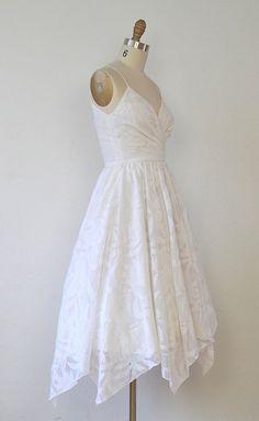 White 1970s Wedding Dress Full Skirt Spaghetti by salvagelife