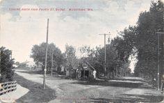 Watertown Wisconsin~North From 4th Street Bridge~Fork in Dirt Road~Garage~1908