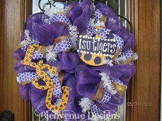 LSU Tigers College Mesh Wreath by lesleepesak on Etsy, $80.00
