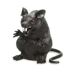"""When candy goes missing, you've got someone to blame. Scary rat decoration with piercing red eyes Great for guarding your candy bowl from sneaky hands—or not Made of plastic Measures 6"""" H x 4.25"""" W"""
