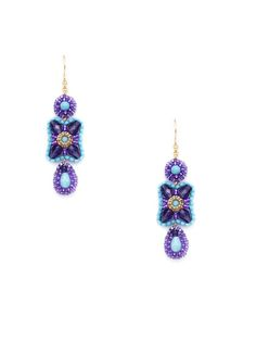 Purple & Blue Triple Drop Earrings by Miguel Ases on Gilt