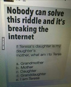 21 Tricky riddles that'll stretch your brain for kids and adults! Can you solve this mix of crime riddles, brain teasers and easy questions for kids without . Stupid Funny, Funny Texts, Funny Relatable Memes, Hilarious, Stupid Questions Funny, Funny Jokes To Tell, Funny Comebacks, Dumb Jokes, Funny Puns