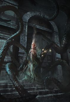 The Crawling Chaos wakes...  This dark fantasy / horror concept art from Nicolas Ferrand (prolific artist of sci fi / mech / gothic pieces), features what appears to be one of Lovecraft's more well-known villains.  Nyarlathotep (messenger of the Old Ones and bane of Randolph Carter) opens the way for Cthulhu and his brood of eldritch horrors / tentacled monsters, to rise from sunken R'lyeh and remake the Earth.  Because who doesn't like a touch of the morbid with their supernatural artwork…