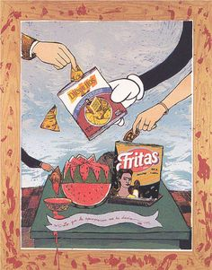 """Enrique Chagoya, """"What Appropriation Has Given Me (Fritas y Dieguitos)"""" Collection of Austin and Sara Hills"""