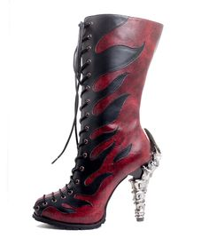 """These boots are on fire!!! - 5"""" prehistoric themed claw heel - double layered insole and 0.5"""" layered rubber outsole - inner zipper - adjustable front laces"""