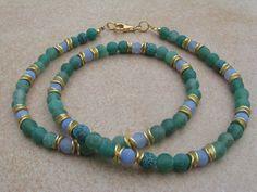 Achat - grün-blaue Achatkette  - ein Designerstück von Perlenketten bei DaWanda