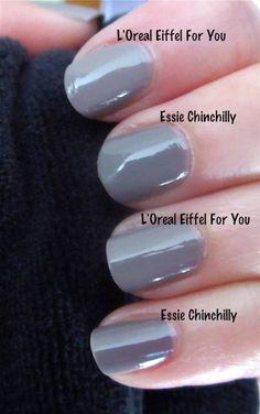 Essie Chinchilly and LOreal Eiffel For You Nail Polish Dupes, Nail Polish Blog, Shellac Nail Art, Essie Nail Polish, Uv Gel Nails, Nail Polish Colors, My Nails, Gel Polish, Cute Nails