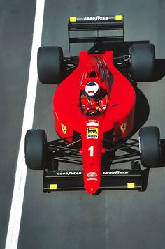 alain prost on enrique scalabroni's ferrari 641/2, 1990