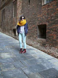Winter look  Color block Siena, Italy