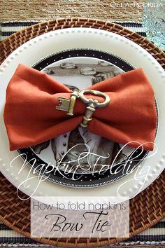 Olla-Podrida: Napkin Folding 101 - Bowtie