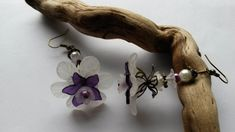 Earrings Large White and Purple Flower £7.50