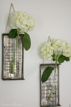 Vintage graters are repurposed as glass bud vases | Rustic & Woven