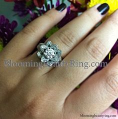 One of our customers sharing a picture of their new #EngagementRing which is the Small Hand Engraved Blooming Beauty Flower Ring  BloomingBeautyRing.com