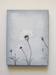acrylic painting grey daisy painting still life by Waterblooms