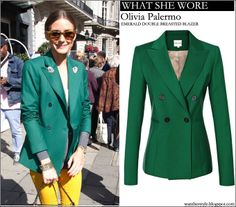 WHAT SHE WORE: Olivia palermo in green double breasted blazer in London #fashion #style #streetstyle