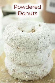 Pumpkin Donut Recipe Baked, Baked Doughnut Recipes, Easy Donut Recipe, Baked Doughnuts, Baked Pumpkin, Powdered Donuts, Cinnamon Sugar Donuts, Homemade Buttermilk, Homemade Donuts