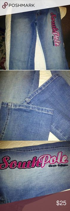 """Southpole Jeans!!!⭐ Size 3 Southpole Jeans!!!⭐ A 30"""" inseam an 8"""" rise and a 26"""" waist. A faded look to the jeans. The only flaw is my writing on inside of Jean.( last pic). An awesome embroidered Southpole logo in a dark pink. Southpole Jeans Boot Cut"""