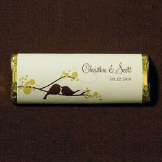 Who doesn't love chocolate! Always a crowd favorite, these trendy personalized nut free chocolate bars are available with a variety of wrapper design options. These chocolate bars are produced in a nut free U.S. facility and are guaranteed safe for anyone with a nut or peanut allergy. Available for purchase online at http://madelinesweddings.weddingstar.com/product/love-bird-nut-free-gourmet-milk-chocolate-bar