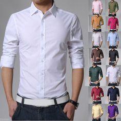 Fashion Men's Slim Fit Shirts Stylish Luxury Casual Long Sleeve Dress 15 Colors   eBay