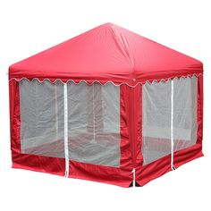 """King Canopy Garden Party Replacement Cover 10 x 10"""" With Bug Screen Side Walls and 32"""" Plastic Rings - Red"""