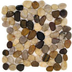 Strata Stones, the polished Natural Mix Pebble. Real rocks attached to mesh to make a tile. Want to use this in the bathroom. Maybe the floor or the shower. Shower Floor Tile, Bathroom Floor Tiles, Shower Walls, Log Home Bathrooms, River Rock Floor, Fulton Homes, Rock Decor, Stone Flooring, Flooring Ideas