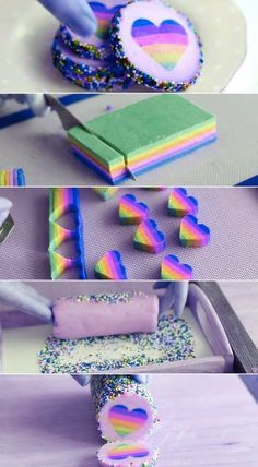 Pin by Sewing Melbourne on DIY Sweet (With images) Rainbow Desserts, Rainbow Treats, Rainbow Food, Rainbow Heart, Heart Cookies, Cake Cookies, Sugar Cookies, Cupcake Cakes, Baking Recipes