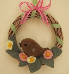 ghirlanda uccellino in pannolenci, feltro felt bird wreath