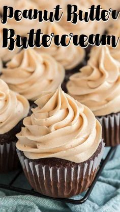 Peanut butter lovers, this recipe is for you! Smooth, creamy Peanut Butter Buttercream Frosting is the perfect way to top chocolate cake or cupcakes! peanut butter chocolate for peanut butter lovers peanut butter with peanut butter easy Peanut Butter Icing, Peanut Butter Recipes, Peanut Butter Buttercream Icing Recipe, Cupcakes With Buttercream Frosting, Icing Recipe For Cupcakes, Best Cupcakes, Peanut Butter Filled Cupcakes, Chocolate Peanut Butter Frosting, Moist Vanilla Cupcakes